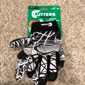 Youth Cutters Football Receivers Gloves Medium